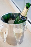 Champagne bottle in a wine bucket