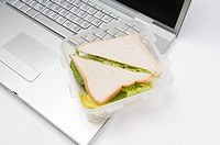 A sandwich and a laptop