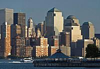 USA, New York City, Lower Manhattan Financial District Skyline across Hudson River