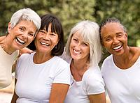 Multi-ethnic senior women laughing (thumbnail)