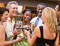 Multi_ethnic friends toasting with wine
