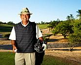 Hispanic man on golf course
