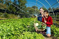 Multi_ethnic mother and daughter harvesting organic produce