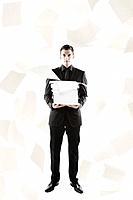 Paperwork flying around Middle Eastern businessman