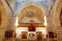 Syria_ Ma´lula Malula. Monastery of Mar Sarkis St. Sergius. Interior of Church of Sts. Sergius and Bacchus