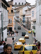 Ecuador - Pichincha Province - Quito. UNESCO World Heritage List, 1978. Taxi cabs in Calle Venezuela