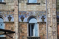 Italy - Veneto Region - Venice. Lido. Liberty style polychrome majolica, 1914, at Hotel Hungaria Palace, opened 1905