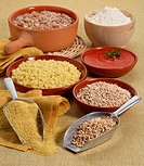 Still life _ Millet and emmer wheat. Wholewheat and pearl emmer wheat grains, millet grains, emmer wheat flour, boiled millet and tomato sauce, emmer ...