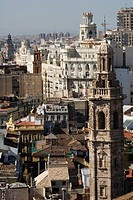 Spain - Valencia. Baroque Santa Catalina Tower, 17th century. View from Miguelete Tower, 14th-15th century. At 'La Seo' Saint Mary Cathedral, 'Catedra...