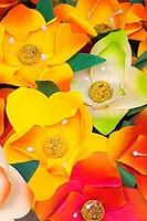 Close-up of paper flowers at a market stall, Oregon State Fair, Salem, Oregon, USA