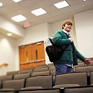 Student Walking in Lecture Hall