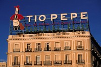 spain, madrid, puerta del sol, tio pepe sign