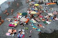 beach, camogli, liguria, italy