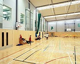 NORTHAMPTON ACADEMY, WELLINGBOROUGH ROAD, SOUTHAMPTON, HAMPSHIRE, UK, FEILDEN CLEGG BRADLEY ARCHITECTS, INTERIOR, INTERIOR OF THE SPORTS HALL