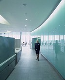 BARCLAYS HEADQUARTERS, DOCKLANDS, LONDON, E14 POPLAR, UK, HOK INTERNATIONAL LTD, INTERIOR, CORRIDOR OFF MAIN RESTAURANT AREA