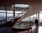 DE LA WARR SEASIDE PAVILION, BEXHILL ON SEA, EAST SUSSEX, UK, JOHN MCASLAN & PARTNERS, INTERIOR, SOUTH STAIR AT FIRST FLOOR TO EXTERIOR