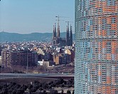 TORRE AGBAR, BARCELONA, SPAIN, JEAN NOUVEL, EXTERIOR, VIEW WITH GAUDI'S SAGRADA FAMILIA AND BARCELONA