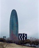 TORRE AGBAR, BARCELONA, SPAIN, JEAN NOUVEL, EXTERIOR, VIEW OVERCAST