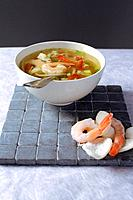 bowl of soup with shrimps