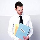 business man holding denied files