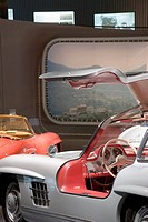 MERCEDES MUSEUM, MERCEDESSTRASSSER 100, STUTTGART, GERMANY, UN STUDIO BEN VAN BERKEL AND CAROLINE BOS, INTERIOR, GULL WING DOORS IN THE ´POST WAR MIRA...