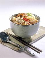 Korean cuisine _ noddles, spoon and chopsticks