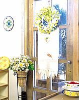 Kitchen door with flowers