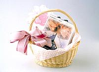 CD and basket with ribbon