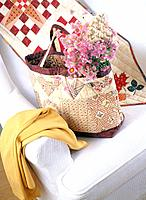 Bag and flower on the sofa