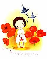 Illustration of kid and flowers