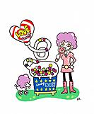 Young woman and candy (thumbnail)