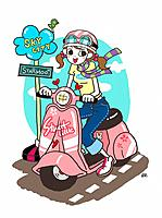 Young woman by motorbicycle (thumbnail)