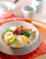 Mixed seafood and vegetables rice