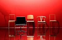 Chairs with red background