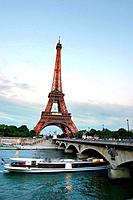 Eiffel Tower, river and bridge, Paris France