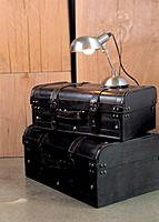 Table lamp on luggage