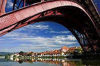 Steel Bridge over the River Drava, Maribor, Slovenia