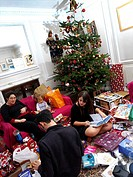 Family Opening Presents Under Christmas Tree