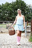 Woman with egg basket