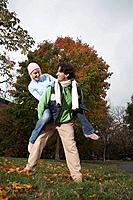 Playful couple in the park