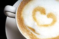 Heart shape on cappuccino