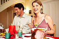Couple enjoying festive dinner