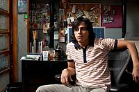 Young man in home office