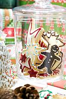 Festive Christmas cookies in a jar