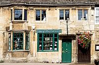 Burford, High Street typical houses, Oxfordshire, England.