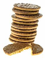 Stack of Chocolate Biscuits with one broken in half
