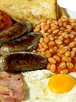 Food _ British Breakfast, Bacon, Eggs, Sausage, Beans
