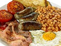 Food _ British Breakfast, Bacon, Eggs, Sausage, Beans, Tomato