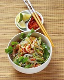Glass noodle salad with crayfish, cabbage, carrots & coriander