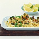 Mie noodles with coriander prawns